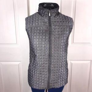 Indigo 2X silver grey quilted puffer vest